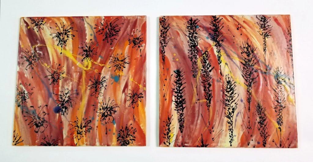 "Angelica Pozo ""Fire Prairie Series: Monarda (left) Liatris (right)"""