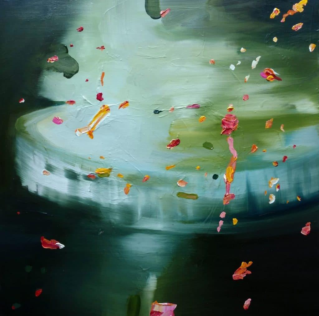 Kulvinder Kaur Dhew. 'Oscillation Crush'. Oil on canvas. 24x24 ins