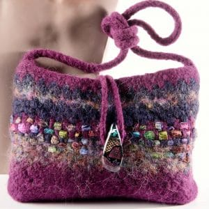 purple hand purse with beads