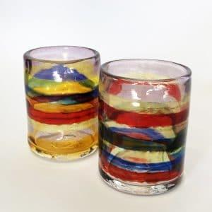 multi-colored drinking glasses