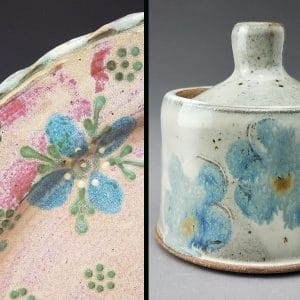 ceramic container with blue flower design