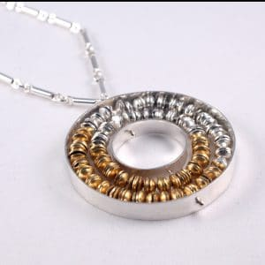 Pendant with little beads inside the center ring