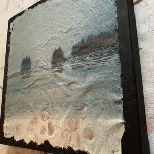 painred landscape on handmade paper