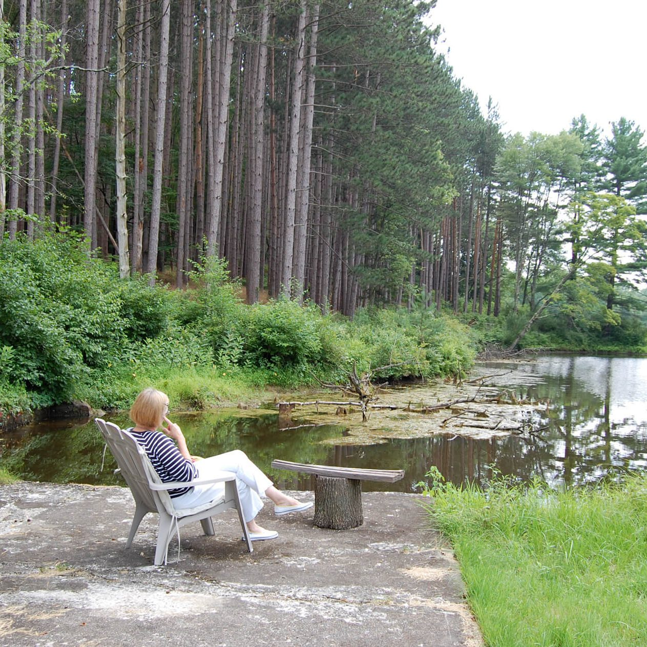 Lady sitting on Delaware Water Gap National Recreation Area